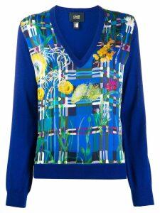 Cavalli Class floral print V-neck jumper - Blue
