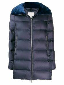 Moncler velvet collar padded jacket - Blue