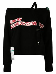 Maison Mihara Yasuhiro Suspender off the shoulder sweatshirt - Black