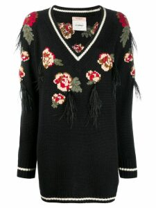 Twin-Set rose embroidered sweater - Black