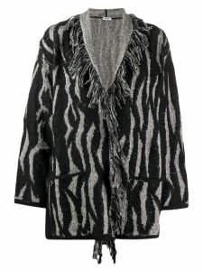 LIU JO zebra intarsia-knit cardigan - Black