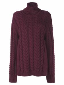 Tibi cable knit turtleneck sweater - Purple