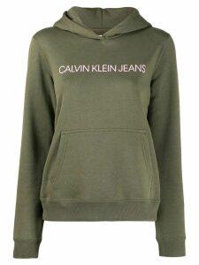 Calvin Klein Jeans logo print hoodie - Green