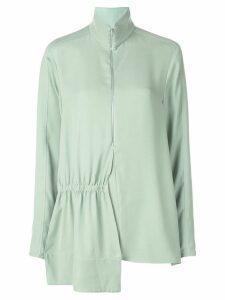 Tibi modern drape zip front tunic top - Green