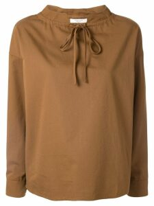 Atlantique Ascoli oversized tie-neck blouse - Brown
