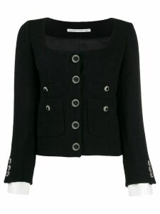 Alessandra Rich fitted scoop neck blazer - Black