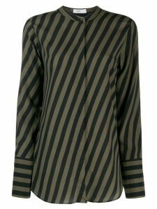 Closed striped Mandarin collar shirt - Green