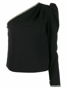 Self-Portrait embellished one-sleeve top - Black