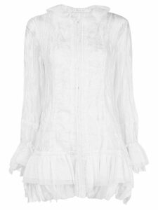 Renli Su frill-trim long-sleeve top - White