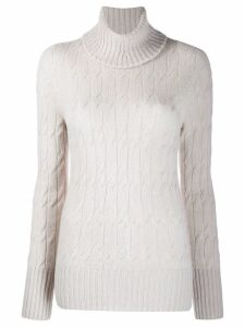Drumohr turtleneck cable-knit jumper - NEUTRALS