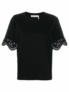 See By Chloé lace sleeve T-shirt - Black