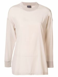 Lorena Antoniazzi ribbed collar top - NEUTRALS