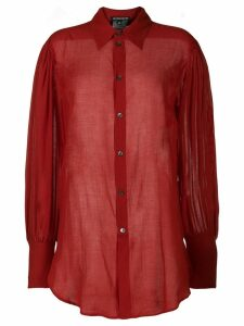 Ann Demeulemeester oversized sheer shirt - Red