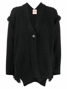 Nude fringed knit cardigan - Black