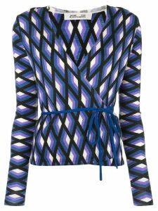 Diane von Furstenberg printed tie waist top - Blue