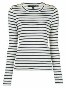 Veronica Beard striped button-embellished sweatshirt - Blue