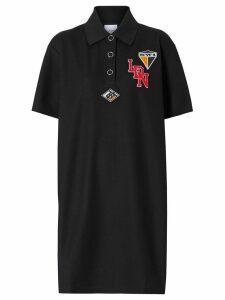 Burberry Logo Graphic Cotton Piqué Dress - Black