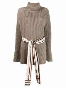 Fendi belted ribbed roll-neck sweater - Neutrals