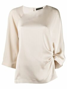 Erika Cavallini satin draped blouse - NEUTRALS