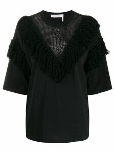 See By Chloé fringed lace-detail blouse - Black