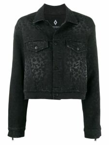 MARCELO BURLON COUNTY OF MILAN rinse wash leopard print denim jacket -