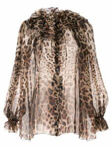 Dolce & Gabbana sheer leopard blouse - Brown