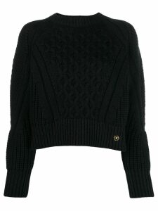 Elisabetta Franchi cropped logo plaque jumper - Black