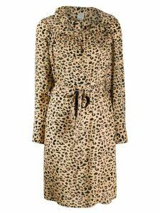 Baum Und Pferdgarten frill trimmed leopard print dress - NEUTRALS