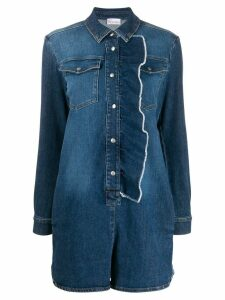 Red Valentino RED Valentino ruffled longsleeved denim playsuit - Blue