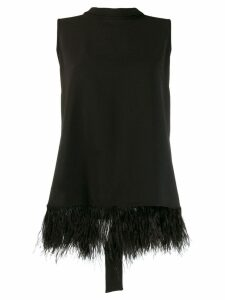 P.A.R.O.S.H. faux-feather embellished blouse - Black