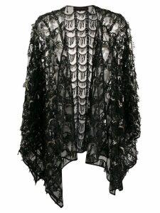 Talbot Runhof sequin fringe embellished poncho - Black