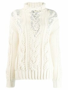 Ermanno Scervino slim-fit funnel neck jumper - White