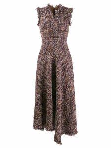 Talbot Runhof asymmetric tweed dress - NEUTRALS