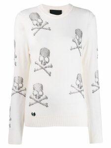 Philipp Plein skull print sweatshirt - White