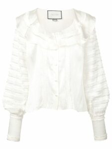 Alexis paneled ruffle blouse - White
