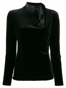Giorgio Armani fitted draped-neck top - Black