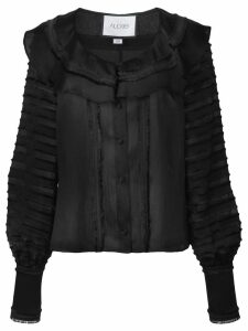 Alexis paneled ruffled blouse - Black