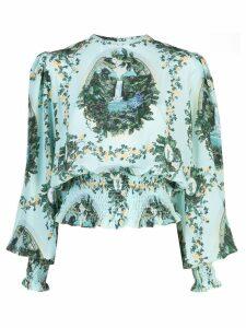 Fete Imperiale Boldini cascade silk top - Blue