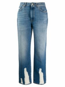 Alexander McQueen distressed straight-leg jeans - Blue