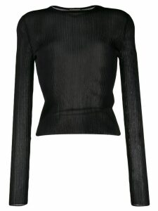 Saint Laurent ribbed knit sheer top - Black