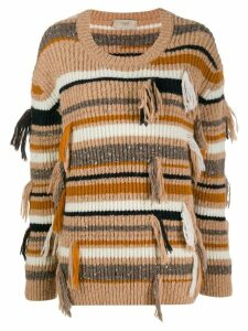 Maison Flaneur ribbed striped jumper - NEUTRALS