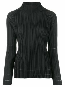Pleats Please Issey Miyake pleated roll neck top - Black