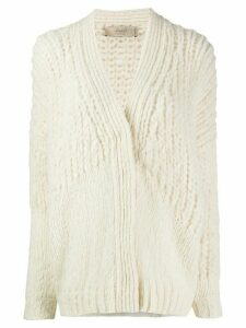 Maison Flaneur chunky knit cardigan - White