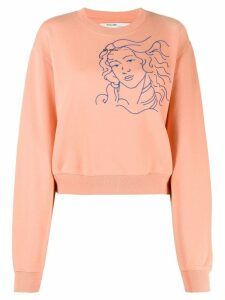 Off-White embroidered woman figure sweatshirt - PINK