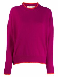 Marni contrast piping detailed sweater - PURPLE