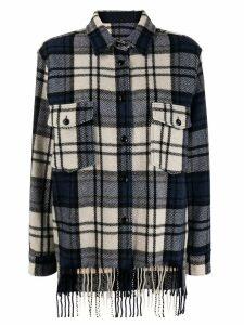 Woolrich check print fringe shirt - Blue