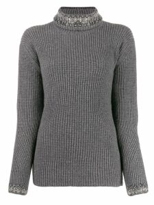 Ermanno Scervino rhinestone-embellished turtleneck jumper - Grey