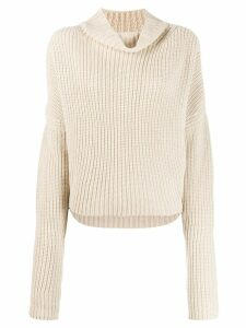 Petar Petrov draped-neck knit sweater - Neutrals
