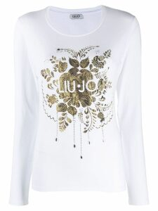 LIU JO logo print long-sleeved T-shirt - White