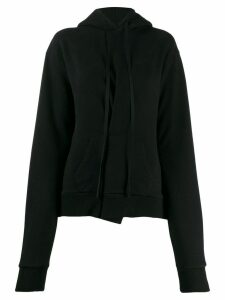 Unravel Project asymmetric pleat hoodie - Black